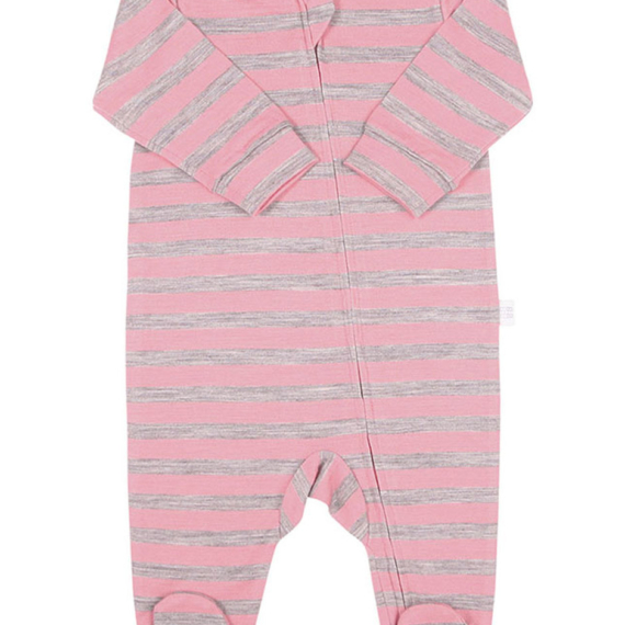 Merino Wool Baby All In One Bodysuit Green Stripe