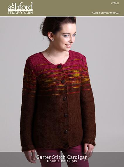 Ashford 8 Ply Garter Stitch Cardigan Pattern