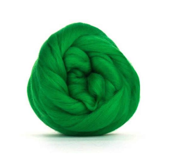 Merino Wool Roving 100g - Bright Green