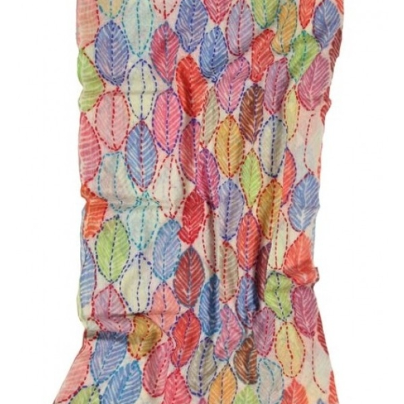 Embroidered Wool Scarf Wrap - Leaves