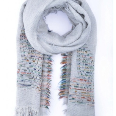 Embroidered Wool Scarf Wrap - Grey