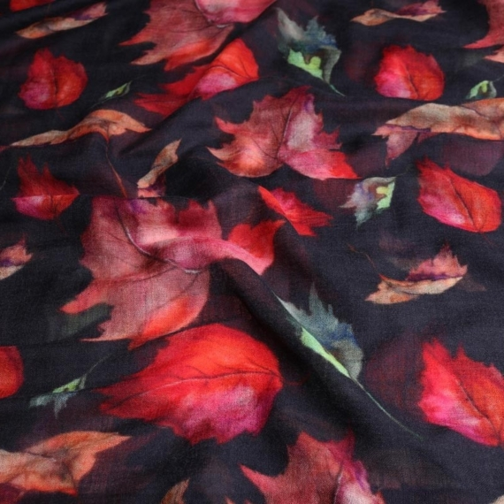 Merino & Silk Scarf - Autumn Leaves