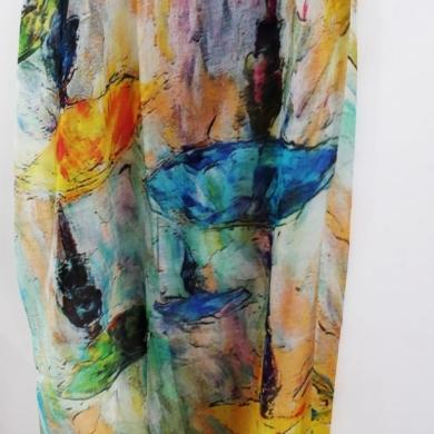 Merino & Silk Scarf - Rainbow Unbrellas