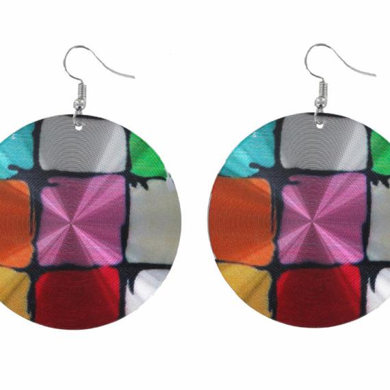 Round Multicoloured Metal Disc Earrings