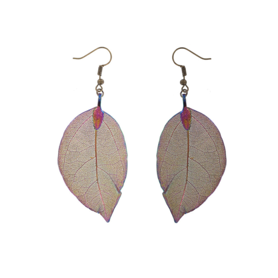Gum Leaf Earrings - Rainbow Gold