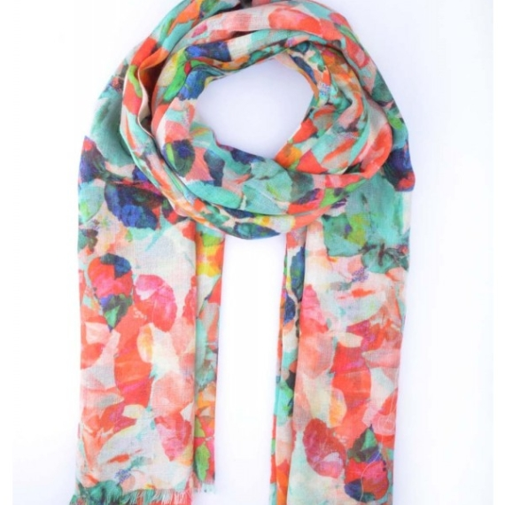 Merino & Silk Scarf - Colourful Leaves