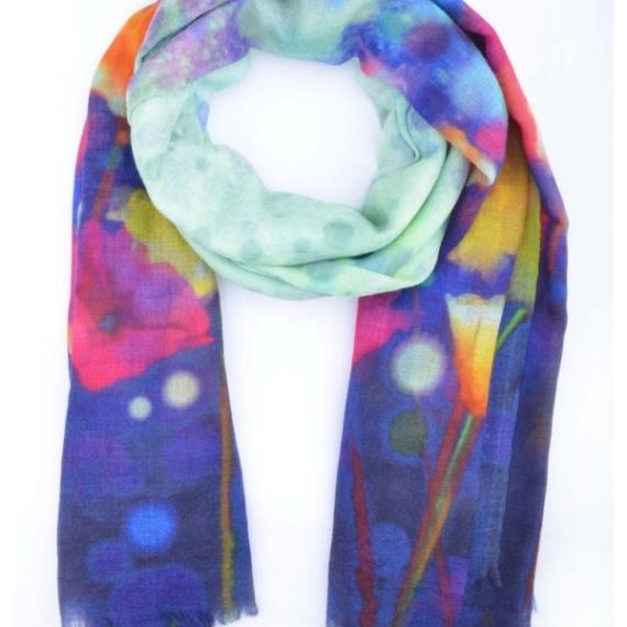 Merino & Silk Scarf - Rainbow Abstract