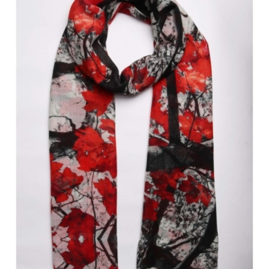 Merino & Silk Scarf - Red & Black Leaves