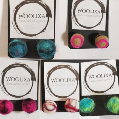 Woolixa Swirl Studs - Green