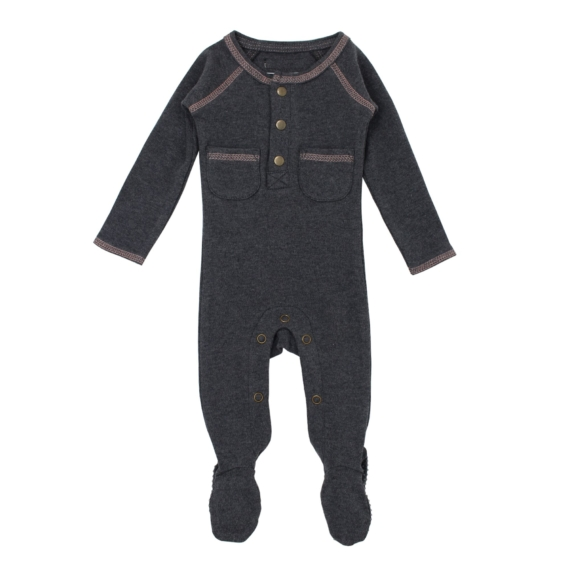 L'oved Baby Organic Footed Buttoned Romper