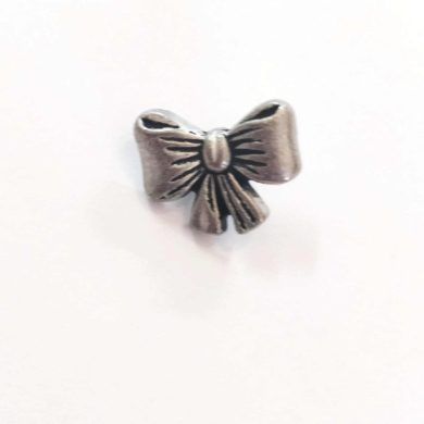 Silver Bow Metal Shank Button 18mm