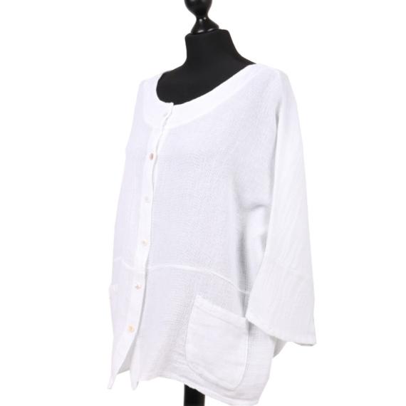 Cotton Linen Button Top - White
