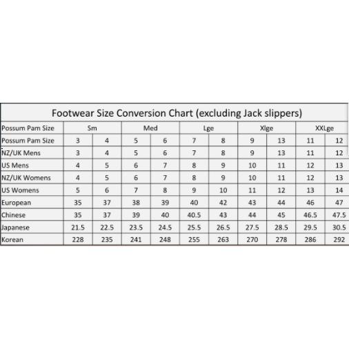 Possum Pam Size Chart