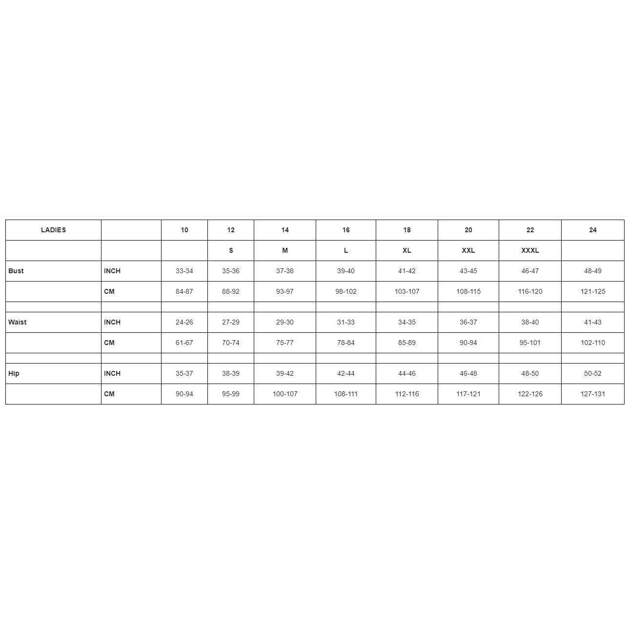 Thermo Fleece Size Chart Ladies