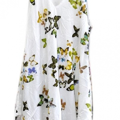Cotton V-neck Butterfly Double Layer Dress Yellow