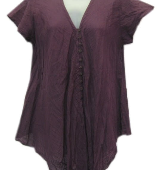 Cotton Top With Buttons Purple