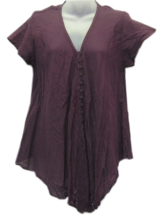 Crinkle Cotton Top Purple