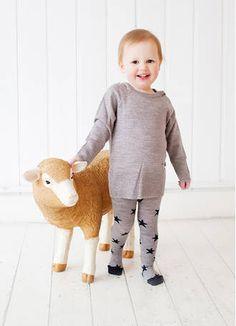 Merino Kids grey stars tights