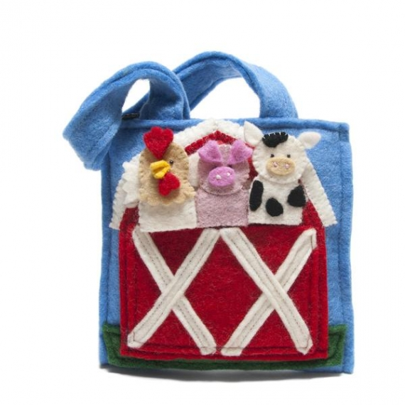 Felted Wool Puppet Farm Play Bag