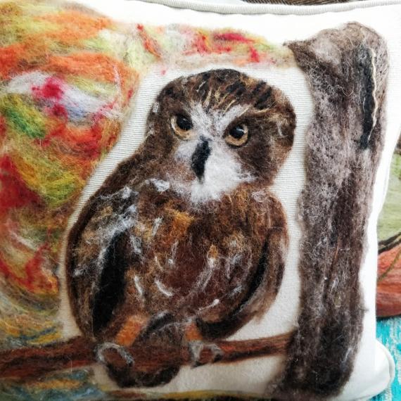 Felted Boobook Owl Cushion