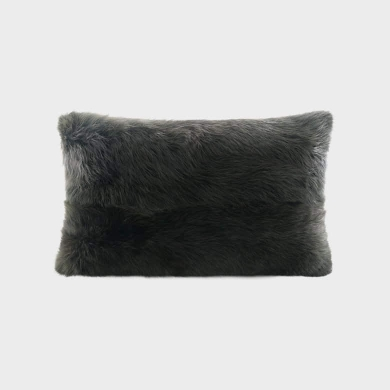 Fox Fur Rectangle Cushion Black