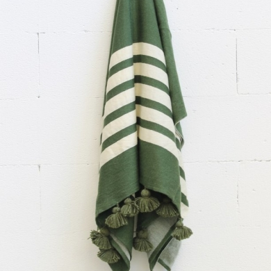 Merino Wool Throw - Green