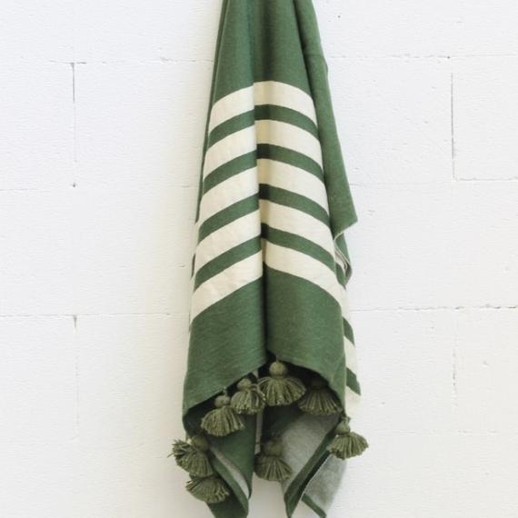 Merino Wool Throw - Green