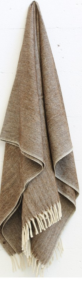 Merino Wool Worthington Throw - Brown