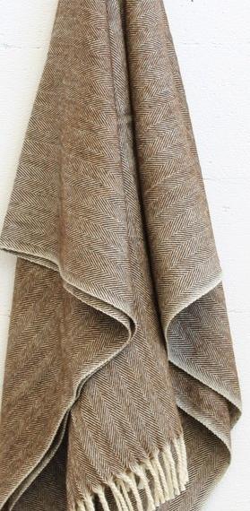 Merino Wool Worthington Throw - Brown