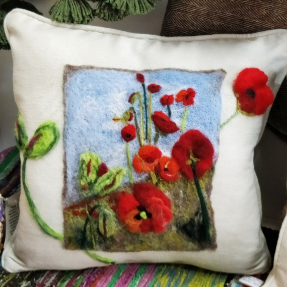 ' Poppies in the field ' Felted Wool Cushion