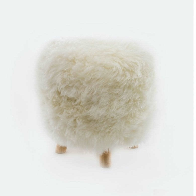 Sheepskin Snowball Stool Round
