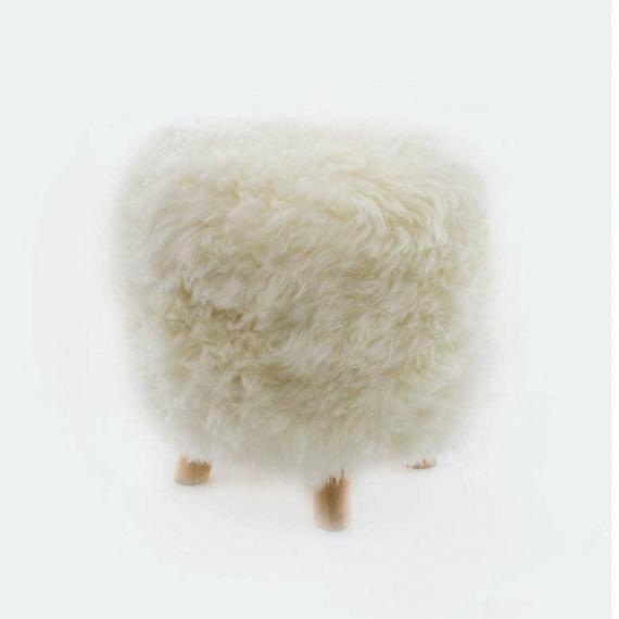 Sheepskin Snowball Stool Round