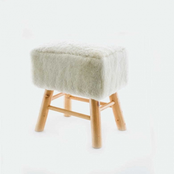 Sheepskin Stool Square Natural