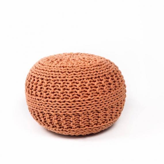Rust Marigold knitted pouffe