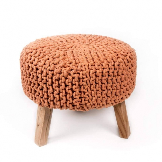 Rust Marigold knitted pouffe with legs