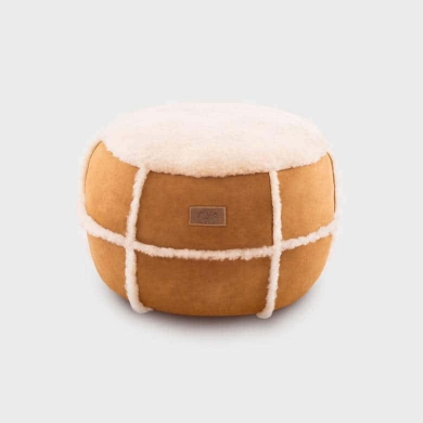 Sheepskin & Suede Ottoman Medium
