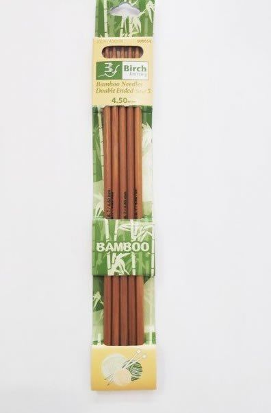 4.50mm Double Pointed 5 Needles 20cm Bamboo