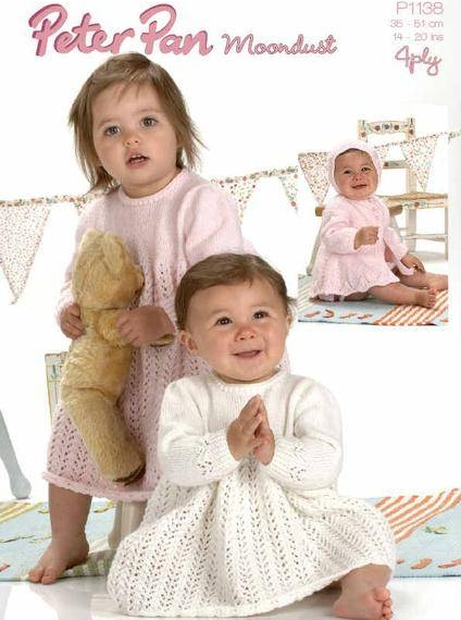 4 ply Knitted Matinee Jacket Dress & Bonnet Pattern