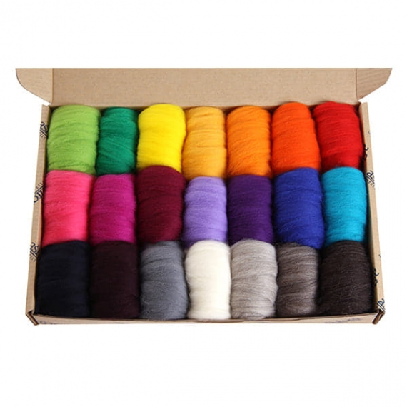 Ashford Corridale Roving Pack 21 Colours Bright