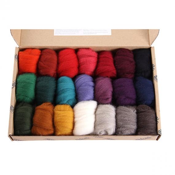 Ashford Corridale Roving Pack 21 Colours Dark