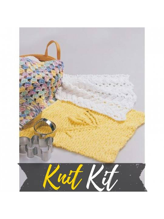 Feather & Fan Knitted Dishcloth Knit Kit