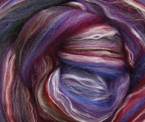 Merino & Silk Wool Roving 100gm - Gemstone
