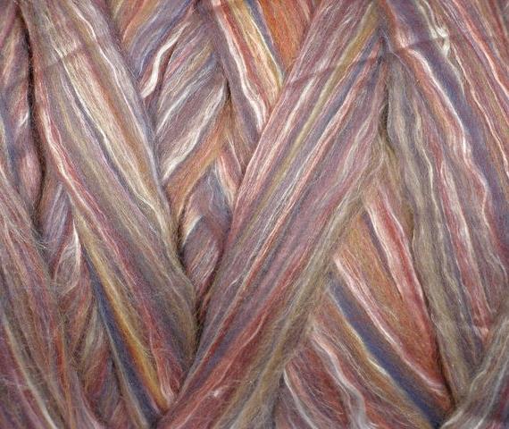 Merino & Silk Wool Roving 100gm - Mulberry