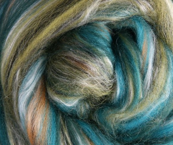 Merino & Silk Wool Roving 100gm - Peppercorns