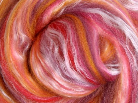Merino & Silk Wool Roving 100gm - Sunset