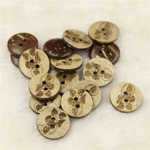 Wooden vine leaf button