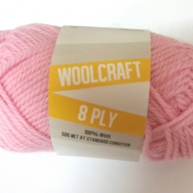 Woolcraft pure wool 8ply Baby Pink - 1011