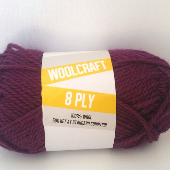 Woolcraft pure wool 8ply Barberry Purple - 1005