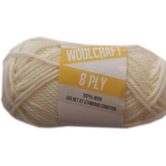 Woolcraft pure wool 8ply Ivory White - 1001