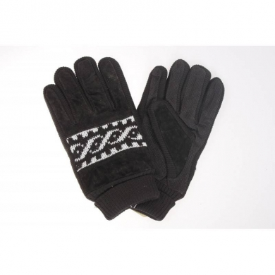 Leather Print Gloves Black